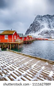 Norway Travelling and Destinations. Picturesque Reine Viewpoint at Lofoten Islands in Norway.Vertical Image Composition