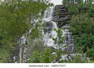 Norway, Tvindefossen waterfall near Voss on the road to Flam.