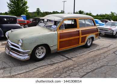 Norway, Wisconsin / USA - June 30, 2019:  A beautiful original 1950 Ford Woodie Wagon on exhibition and being displayed at the Wind Lake car show.