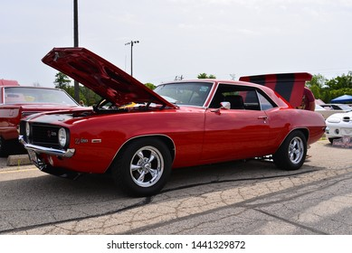 Norway, Wisconsin / USA - June 30, 2019:  A red 1968 Chevrolet Camaro Z/28 being shown at the early summer Wind Lake car show.