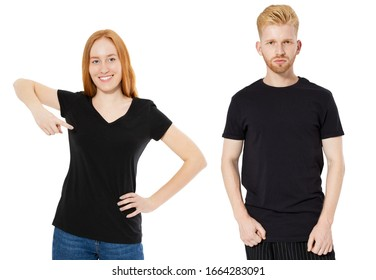 Norway Woman and man in black polo shirts mock up