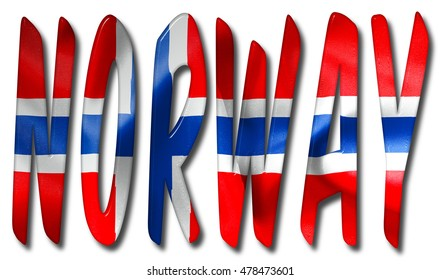 Norway word with a flag texture on an isolated white background with a clipping path for with and without the shadow