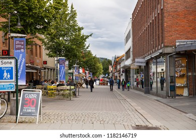 Norway-August 20, 2014 -  The people in the street in Norwegian Lillehammer town.