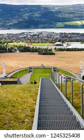 Norway-August 21, 2014 -  Top view of Lillehammer from Ski jump slope Lysgardsbakken, opened in 1993, specifically to the XVII Olympic Winter Games in 1994.