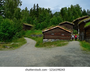 Norway,Lillehammer- view on the historic house in Maihaugen
