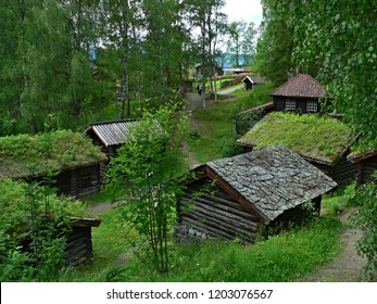 Norway,Lillehammer- view on the wooden historic house in Maihaugen