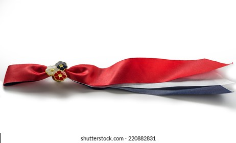Norwegian 17'th of may ribbon. Norway's Constitution Day is celebrated on May 17 when the nation's constitution was signed at Eidsvoll on May 17, 1814