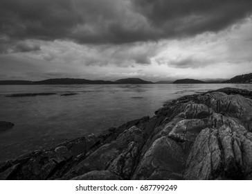 norwegian archipelago in greyscale