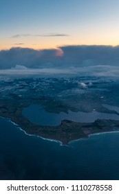 Norwegian coast from airplane after sunrise