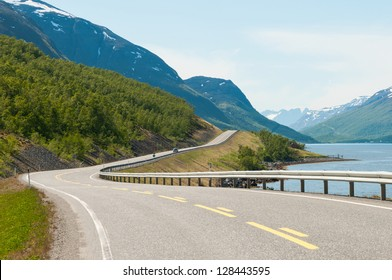 Norwegian country road in the summer. Langfjord, Finnmark.