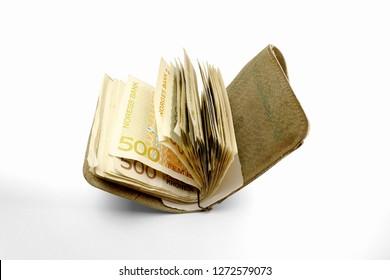 Norwegian crones in open wallet on white background. Norwegian bank. a Huge Norvegian crone in value 500 krone.