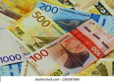 Norwegian Crons paper money in various denominations. 1000, 500, 200,100 NOK Norwegian crones.