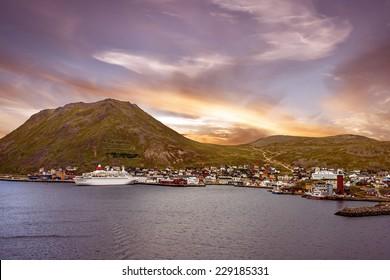 Norwegian cruise liner in port of Honningsvag, Norway.