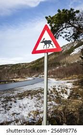 Norwegian elk warning road sign