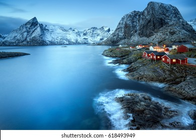 Norwegian fisherman's cabins on the Lofoten at dawn in winter