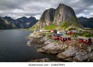 Norwegian Fishing Village Hamnoy on Lofoten Islands, Northern Norway .The typical Rorbuer Houses