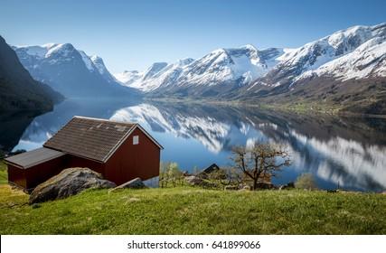 Norwegian fjord landscape in springtime