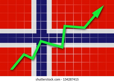 The Norwegian flag and arrow graph going up