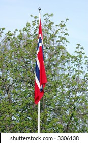 The norwegian flag in early spring