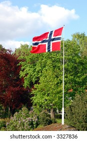 Norwegian flag on a sunny afternoon in may