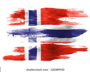 The Norwegian flag painted on white paper with watercolor