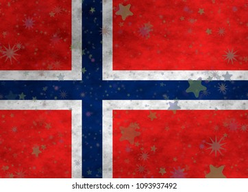 Norwegian flag with stars scattered around