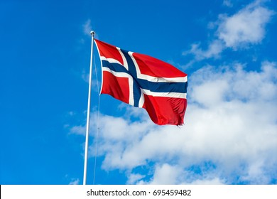 Norwegian flag in the wind.