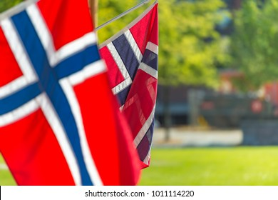 Norwegian flags on wall of building in Trondheim, Norway. Europe travel, Scandinavia.