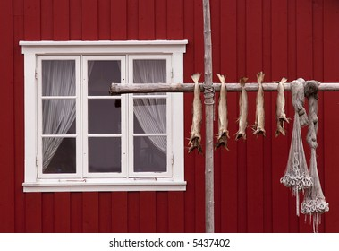 Norwegian house, stockfishes and  fishing nets