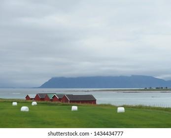 Norwegian islands of Lofoten, island Austvagoya (Austvågøya) - beautiful views during a bicycle trip around Lofoten.