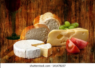Norwegian Jarlsberg and Camembert with Italian white bread on wooden cutting board