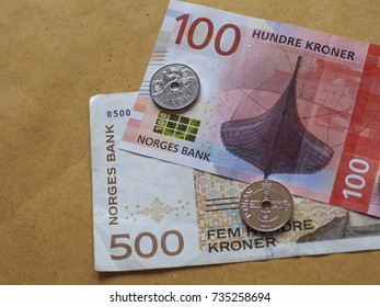 Norwegian Krone banknotes and coins (NOK), currency of Norway