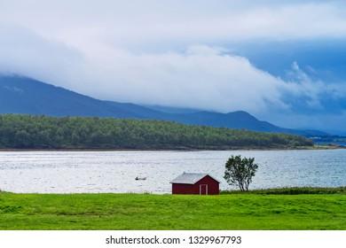 Norwegian landscape in changing weather in august (Senja Island in North Norway).