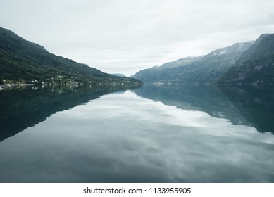 Norwegian landscape with mountains and Lusterfjord fjord. Commune Luster, Norway