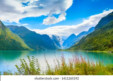 Norwegian landscape with Nordfjord fjord, mountains, flowers and glacier in Olden, Norway