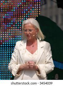 Norwegian Minister of Environment Helen Bjornoy in public performance