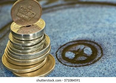 Norwegian money detail - hungry eyes of norwegian economy. Shallow depth of field.