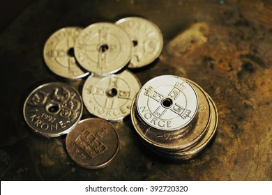 Norwegian money - macro detail, coins, shallow depth of field