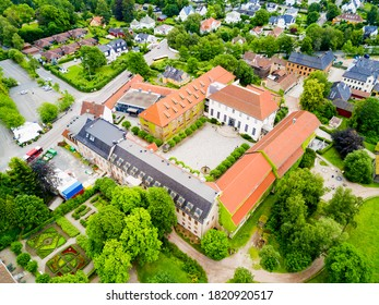 Norwegian Museum of Cultural History or Norsk Folkemuseum aerial panoramic view, located at Bygdoy peninsula in Oslo, Norway