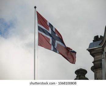 the Norwegian national flag of Norway, Europe