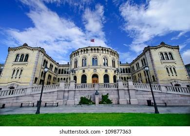 The norwegian parliament building, Oslo, Norway