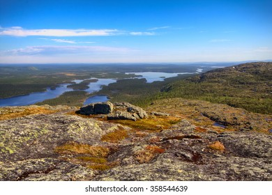 Norwegian post-glacial plateau (fjelds) in Lapland. Most Northern forest in Europe (further Arctic circle) - boreal coniferous forests