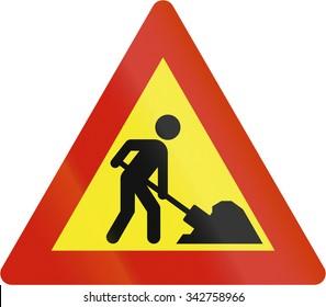 Norwegian road warning sign - Workers in road ahead.