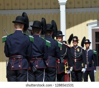 Norwegian soldiers in gala uniforms - honor Guard in front of the Royal Palace.June 17,2018. Oslo,Norway