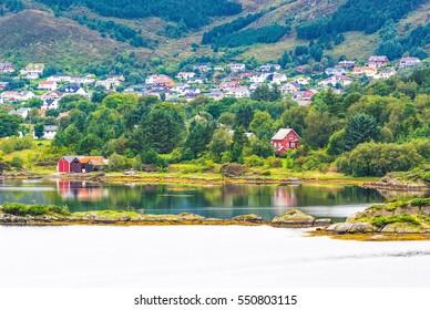 Norwegian village. The county of More og Romsdal. Norway