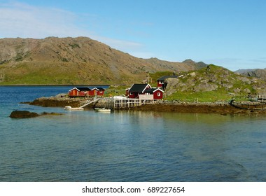 Norwegian Wooden Houses of a Small Fishing Village at North Cape, Honningsvag of Norway