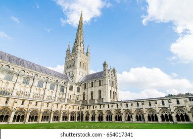 The Norwich cathedral on a sunny day in Norwich, Norfolk, England.