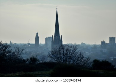 Norwich city skyline with the Cathedral in the centre of frame