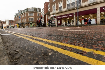 Norwich, England - Feb 13, 2019: Pedestrian Crossing in St Stephens Street Norwich, low angle street photography