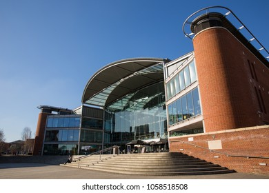 Norwich, Norfolk, England - February 25 2018 : Exterior of the Forum, a Millennium building housing a library, café, restaurant and an exhibition and events hall, in  the heart of Norwich city centre